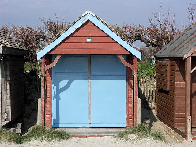 Beach Hut on dry Sand