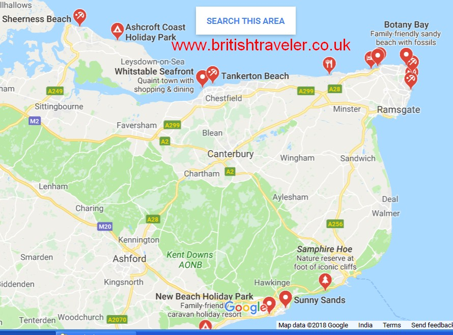 Map Of Uk Beaches.Beaches In Kent That Allow Dogs British Travel