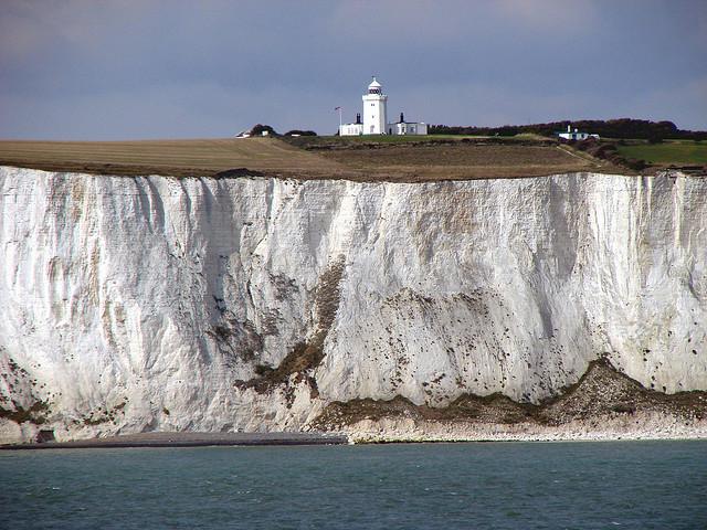 white Chalk cliffs near Dover