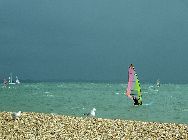 Windsurfing at Calshot Beach