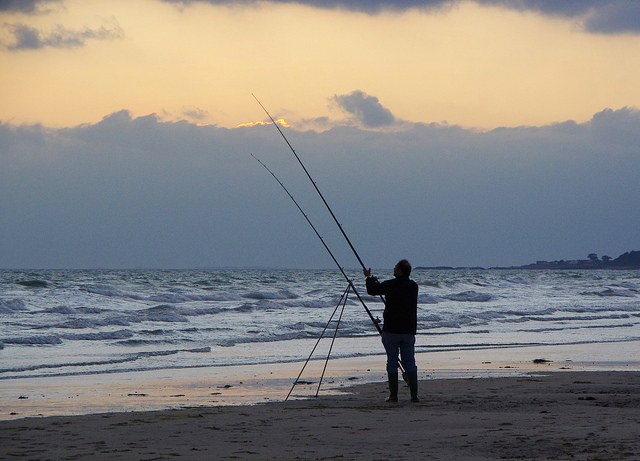 Fishing at Climping Beach