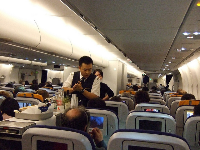 Drinking water in airplane