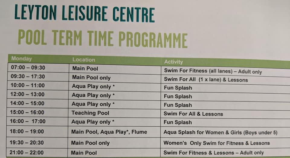 Leyton Leisure Pool Time Table